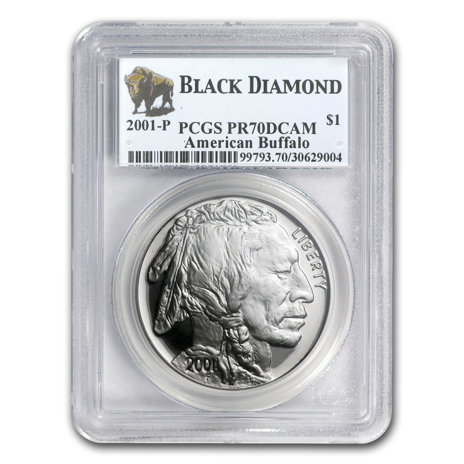 2001-P Buffalo Black Diamond $1 Silver Commem PR-70 PCGS